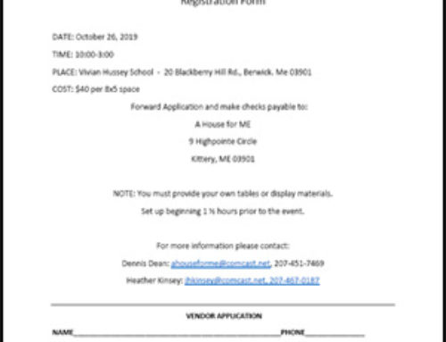 2019 Fall Craft Fair and Bake Sale Registration Form